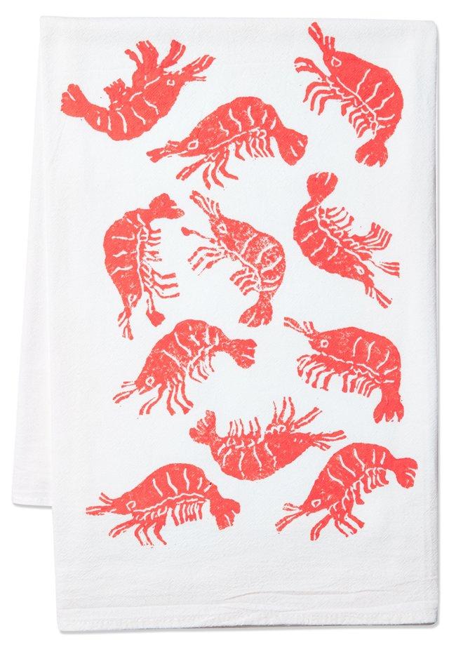 Shrimps Tea Towel, Coral