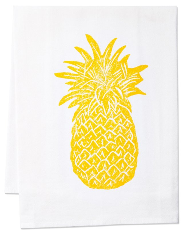 S/2 Pineapple Tea Towels, Gold