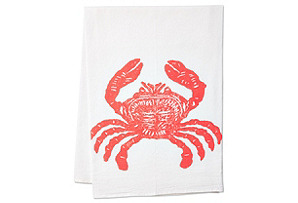 S/2 Coral Crab Tea Towels, Coral