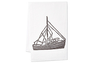 S/2 Shrimp Boat Tea Towels, Gray