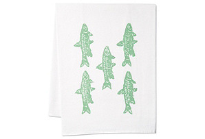 S/2 Minnows Tea Towels, Seafoam