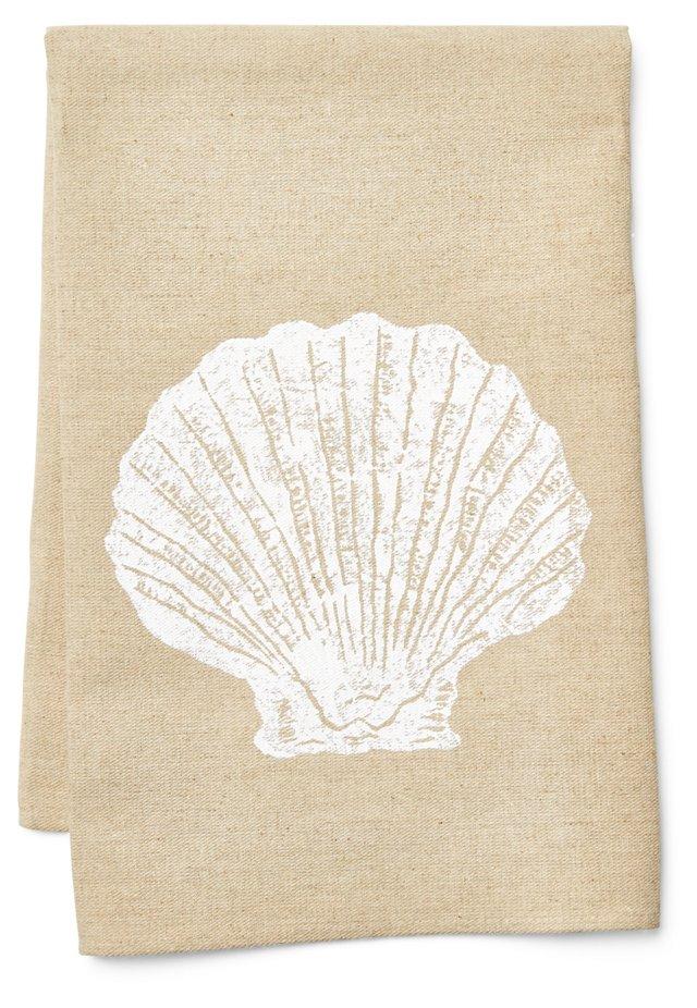Shell Tea Towel, White/Natural