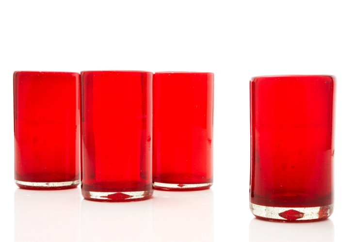 S/4 Tall Tumblers, Red