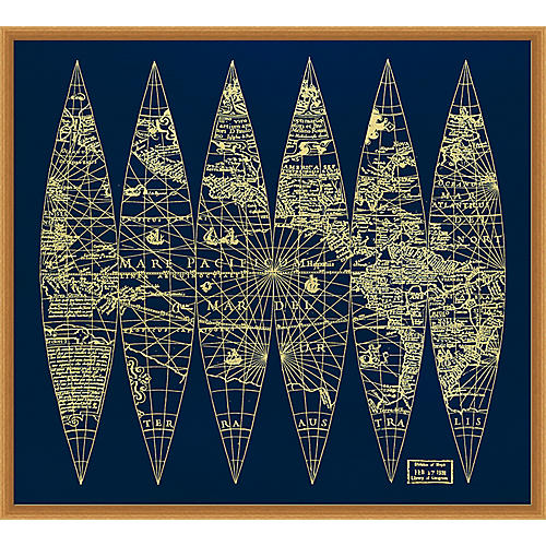 Gold World Map, Hand Applied Gold Leaf