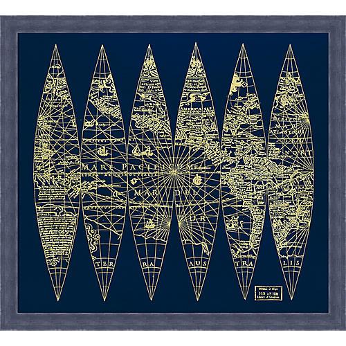 Blue World Map, Hand Applied Gold Leaf