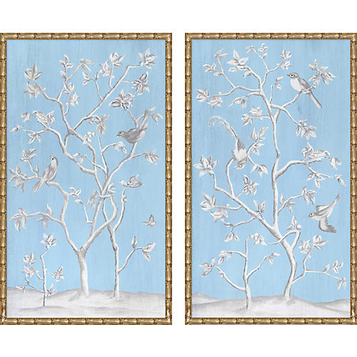 Contemporary Chinoiserie Diptych
