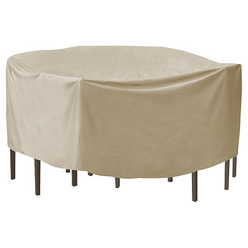"92"" Round Bar Table and Chair Cover, Tan"