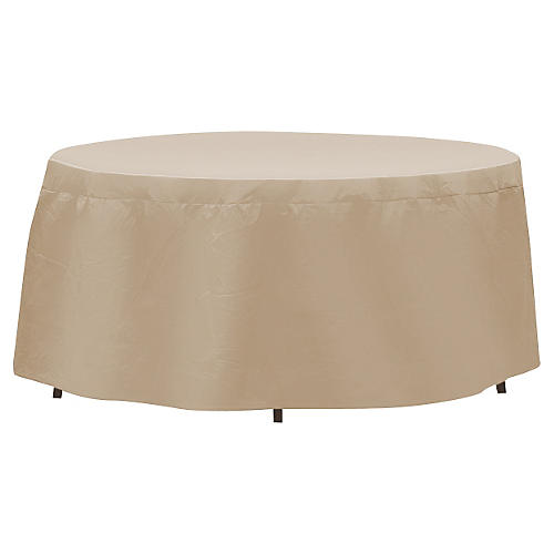 "84"" Oval/Rectangular Table Cover, Tan"