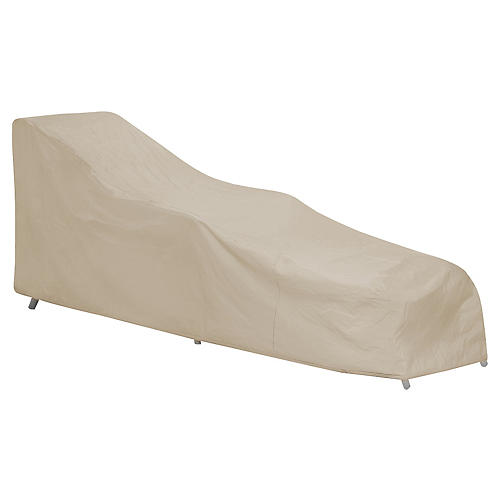 Wicker Chaise Longue Cover, Tan