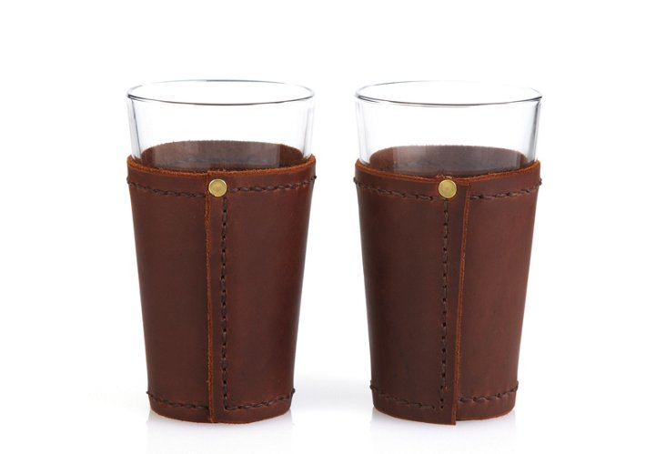 S/2 Wrapped Pint Glasses, Dark Brown