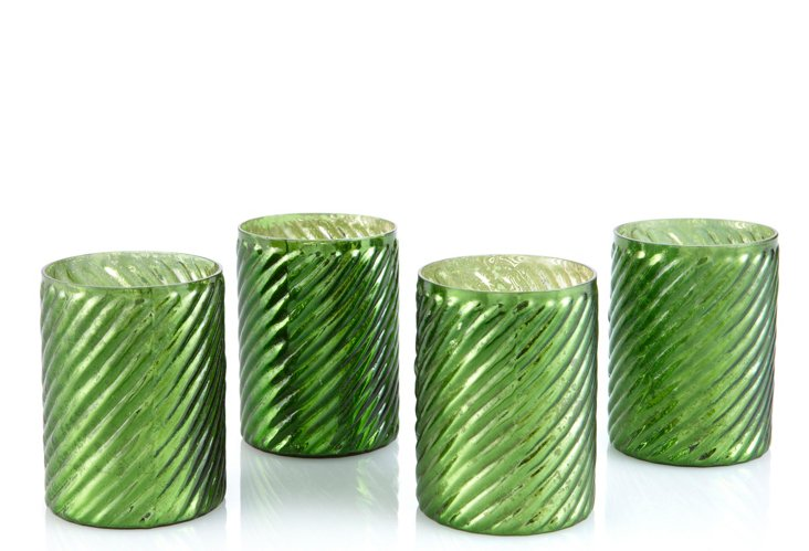 S/4 Swirled Votive Holders, Emerald