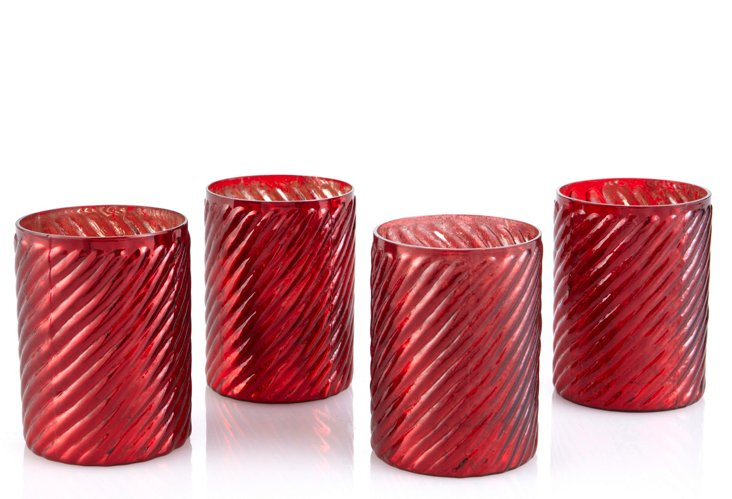 S/4 Swirled Votive Holders, Red