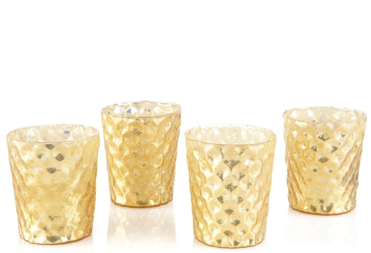 S/4 Mercury Glass Votives, Yellow