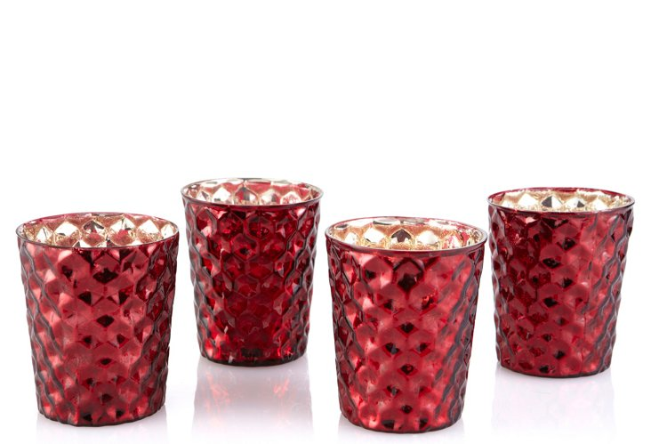 S/4 Mercury Glass Votives, Red