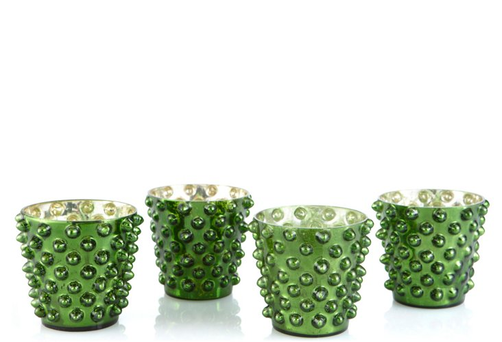 S/4 Dot Glass Votives, Emerald