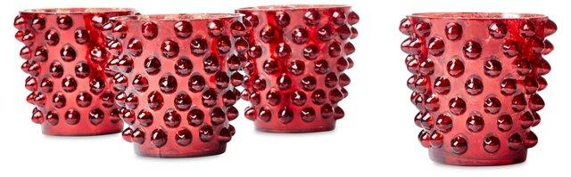 S/4 Dot Glass Votives, Red