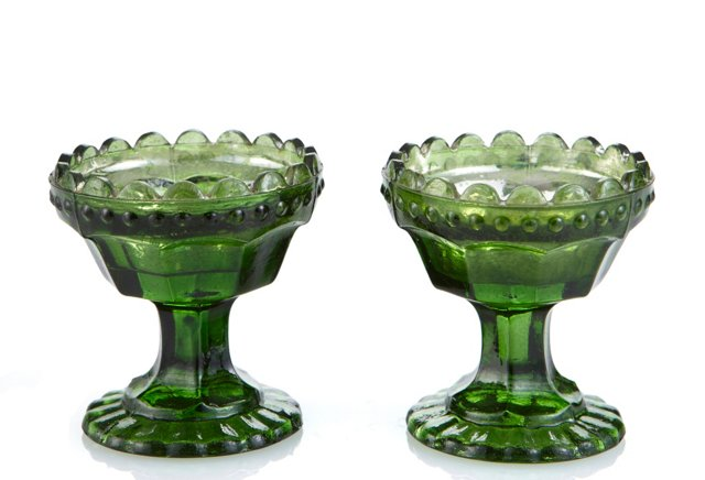 S/2 Glass Tealight Holders, Emerald