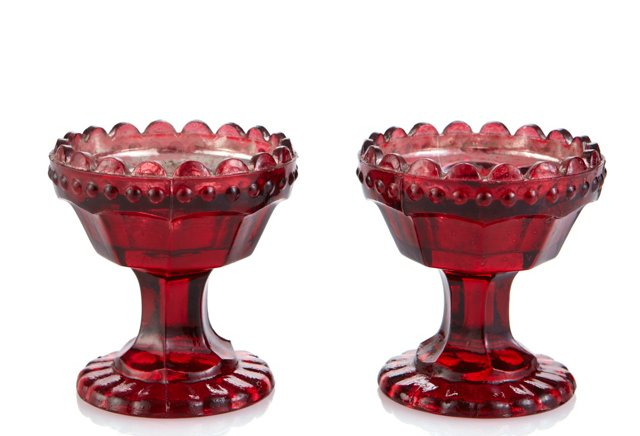 Set of 2 Glass Tealight Holder, Red