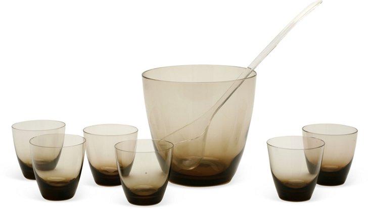 Punch Bowl & 6 Glasses