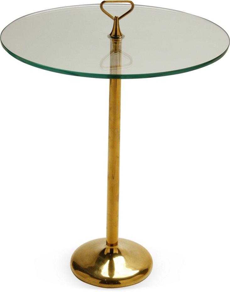Italian Brass & Glass Side Table