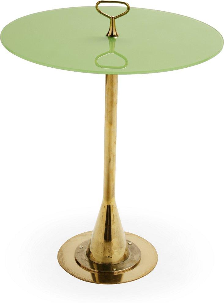 Italian Green Glass & Brass Table
