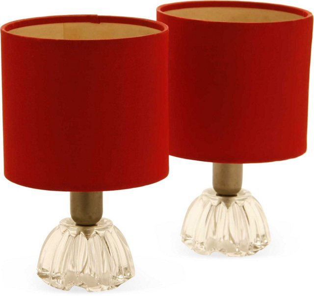Glass Bedside Lamp Bases, Pair