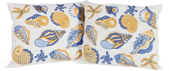 Seashell Pillows, Pair