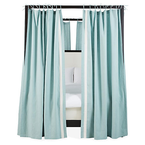 S/8 Bridget Canopy Bed Curtains, Washed Teal/Ivory
