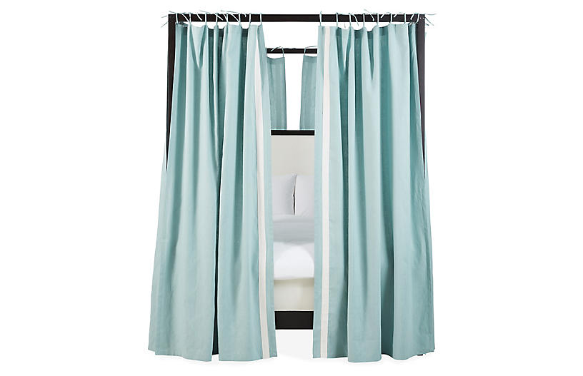 S/8 Bridget Canopy Bed Panels, Teal/Ivory Linen
