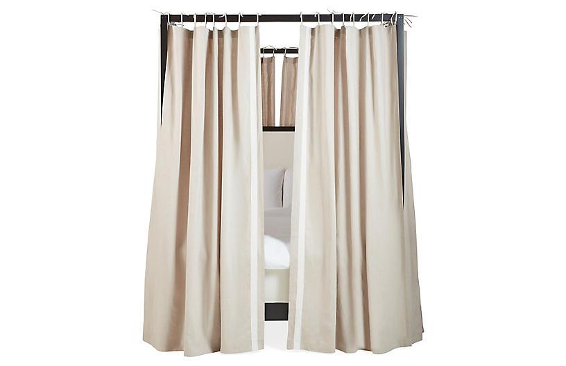S/8 Bridget Canopy Bed Panels, Oatmeal/Ivory Linen