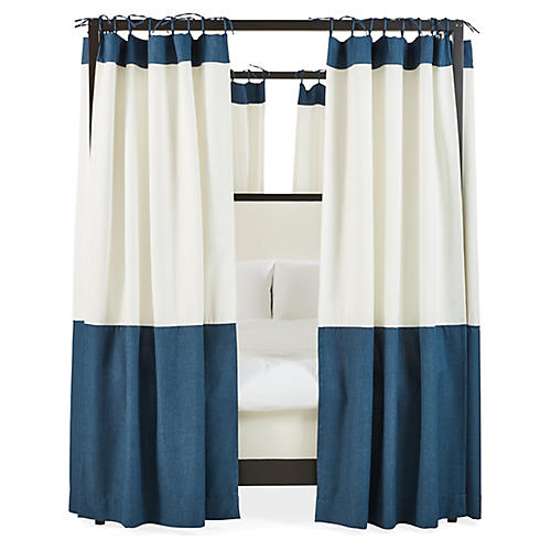 S/8 Sophie Canopy Bed Curtains, White/Navy