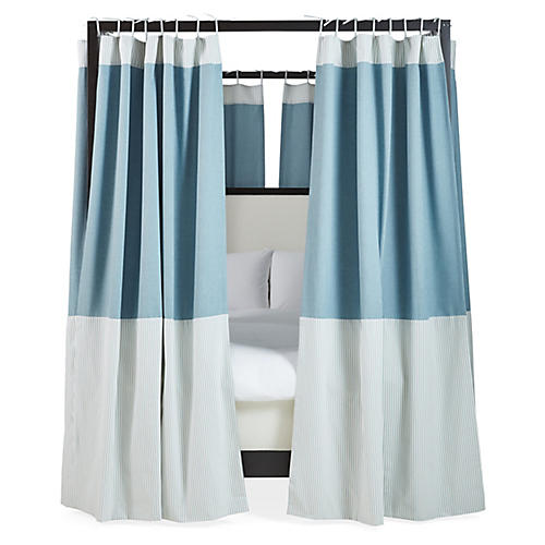 S/8 Sophie Canopy Bed Curtains, Chambray/White