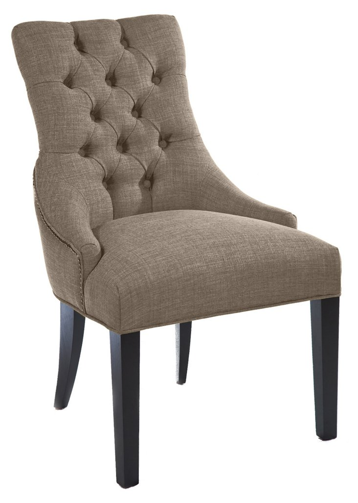 Briana Tufted Linen Chair, Pebble