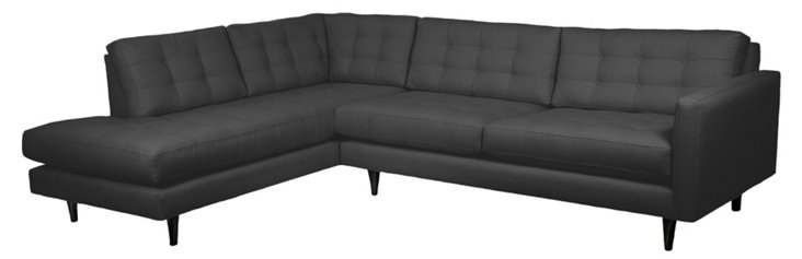Cynthia Left-Facing Sectional, Charcoal