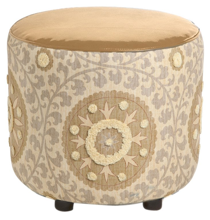 "Natalie 19"" Round Cotton Ottoman, Tan"
