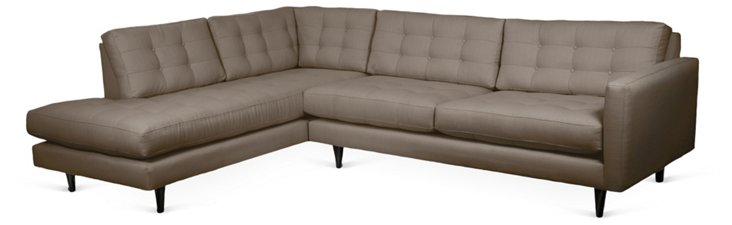 Cynthia Left-Facing Sectional, Pebble