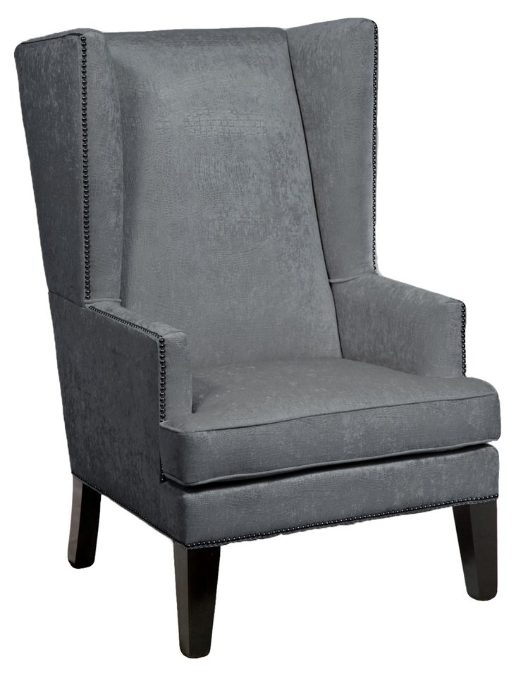 James Wingback Chair, Gray