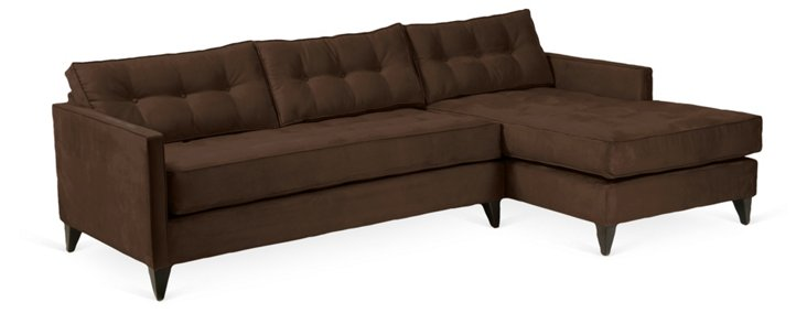 Jason Tufted Suede Sectional, Chocolate