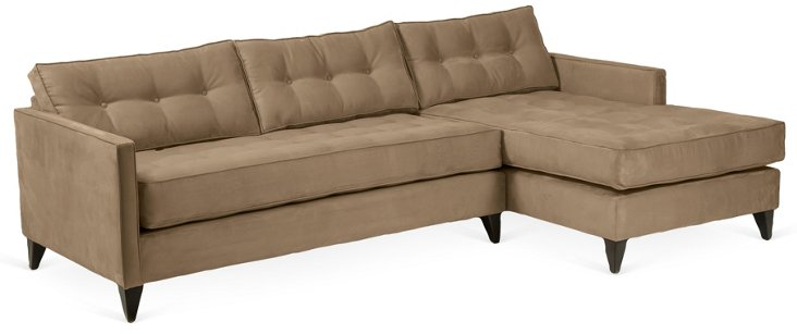 Jason Suede Tufted Sectional, Pebble