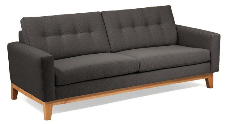 "Julie 83"" Tufted-Back Sofa, Charcoal"