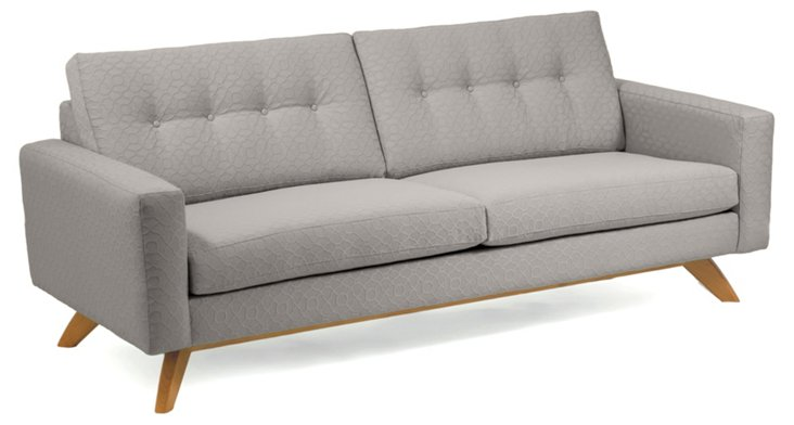 "Sarah 83"" Button-Tufted Sofa, Gray"
