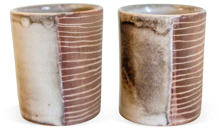 White & Russet Carved Cups, Pair