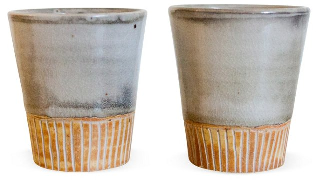 White & Yellow Carved Cups, Pair