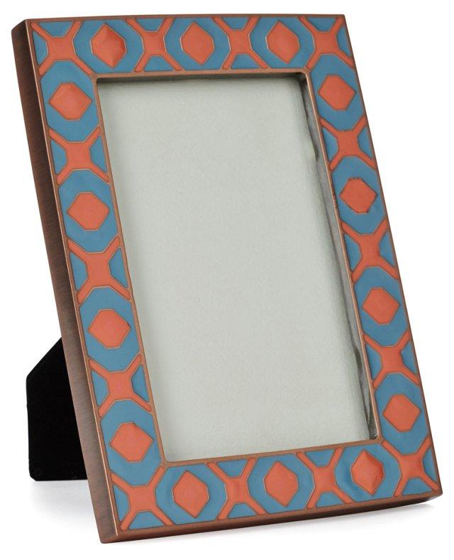 Metal Frame, 4x6, Teal/Coral