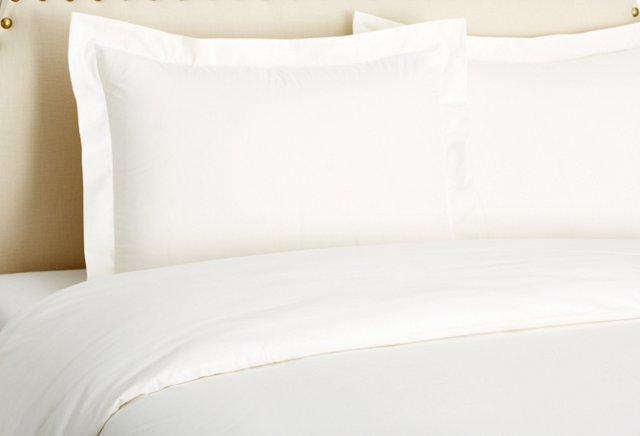 King Classic Percale Duvet Set, Ivory