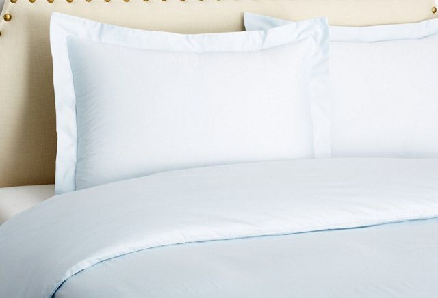 Classic Percale Duvet Set, Ice Blue