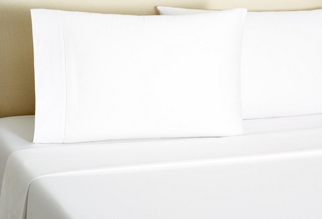 Hemstitch Sateen Sheet Set, White