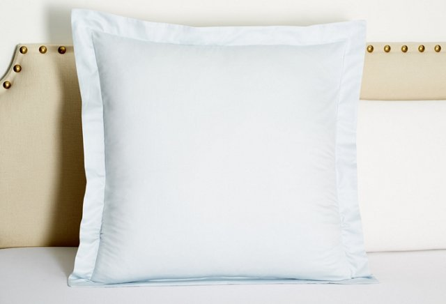 Hemstitch Sateen Euro Sham, Ice Blue