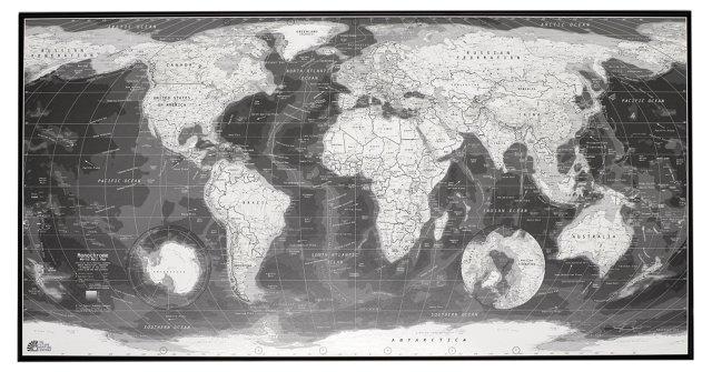 Monochrome World Map, Magnetic