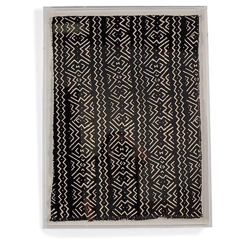 , Black Mudcloth Framed Textile